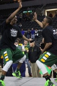 Photo by Gabrielle K. Hartze - Lawrence Alexander and Kory Brown dance their way back into the NCAA Tournament.