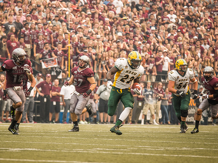 North Dakota State's King Frazier runs for a first down in the FCS Kickoff against Montana