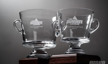 The two Summit League Commissioner Cups NDSU has won sit in the front of the NDSU Athletics office at the SHAC