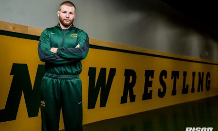 Bison wrestling newcomer Cordell Eaton